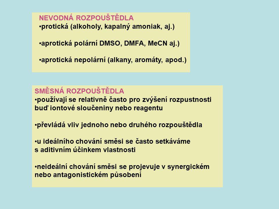 NEVODNÁ ROZPOUŠTĚDLA protická (alkoholy, kapalný amoniak, aj.) aprotická polární DMSO, DMFA, MeCN aj.)