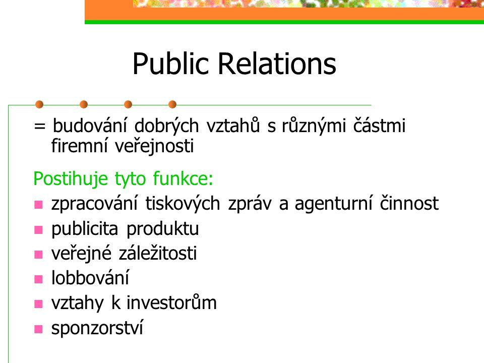 Public Relations = budování dobrých vztahů s různými částmi firemní veřejnosti. Postihuje tyto funkce: