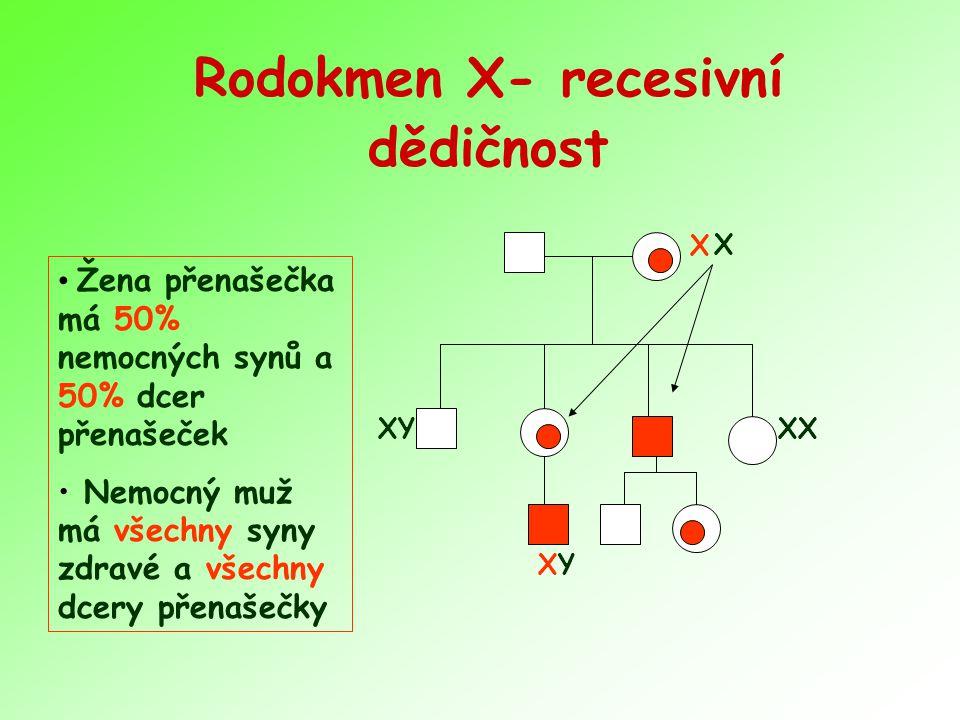 Rodokmen X- recesivní dědičnost