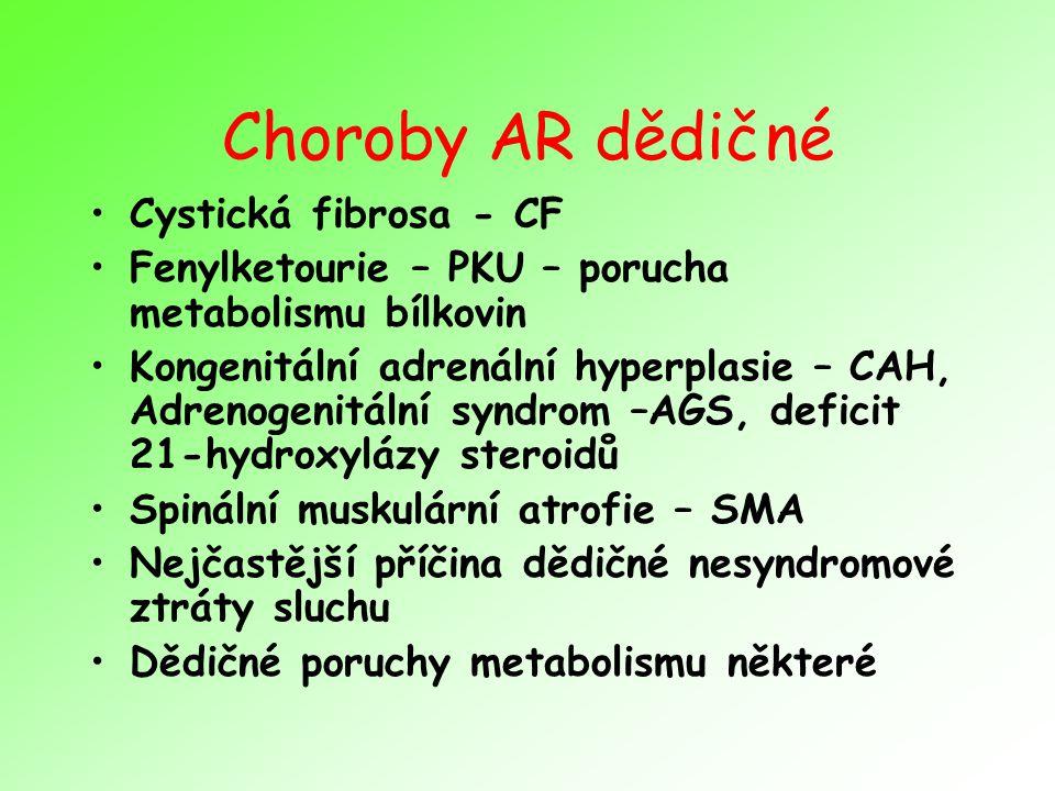 Choroby AR dědičné Cystická fibrosa - CF
