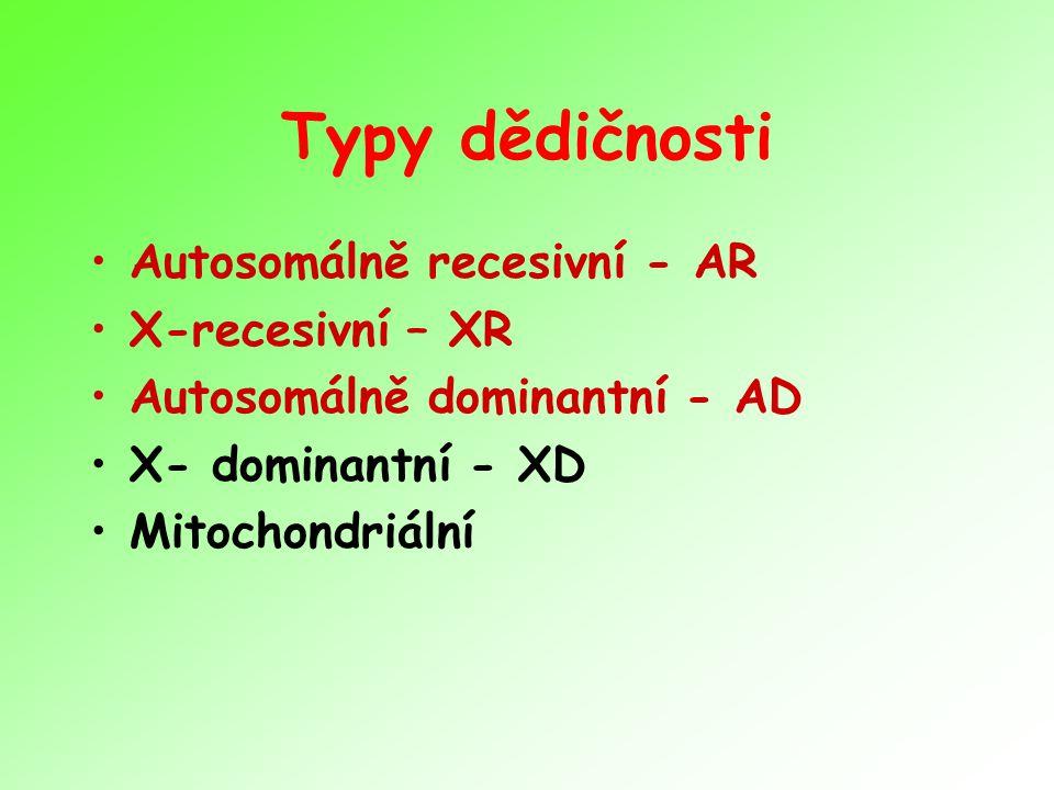 Typy dědičnosti Autosomálně recesivní - AR X-recesivní – XR