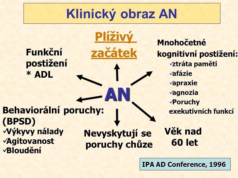 AN Klinický obraz AN Plíživý začátek Funkční postižení * ADL