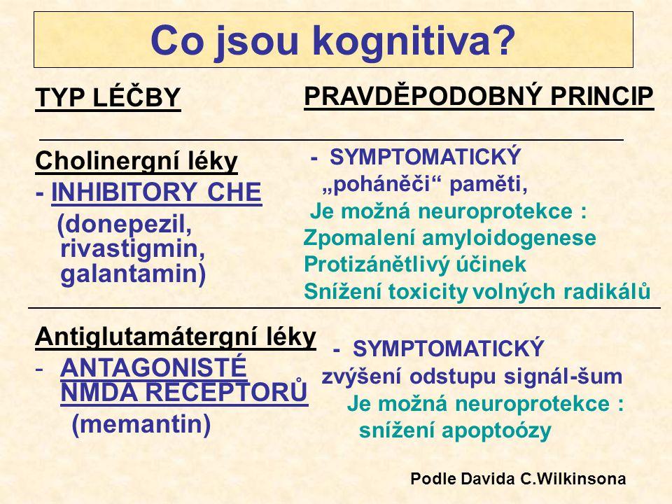 Co jsou kognitiva TYP LÉČBY PRAVDĚPODOBNÝ PRINCIP Cholinergní léky