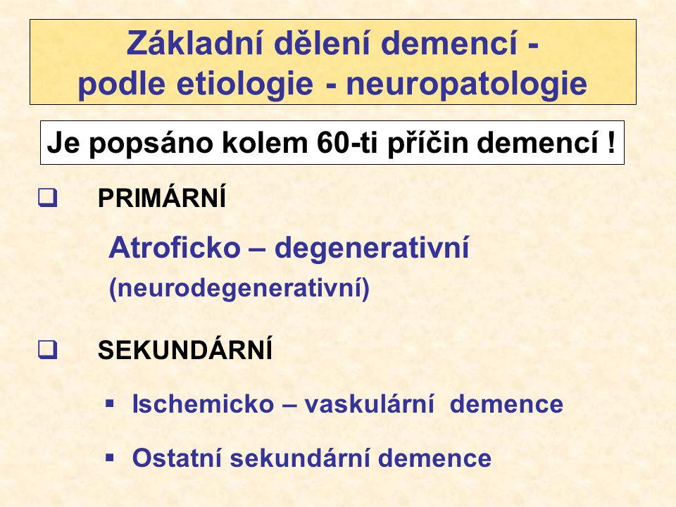 Základní dělení demencí - podle etiologie - neuropatologie