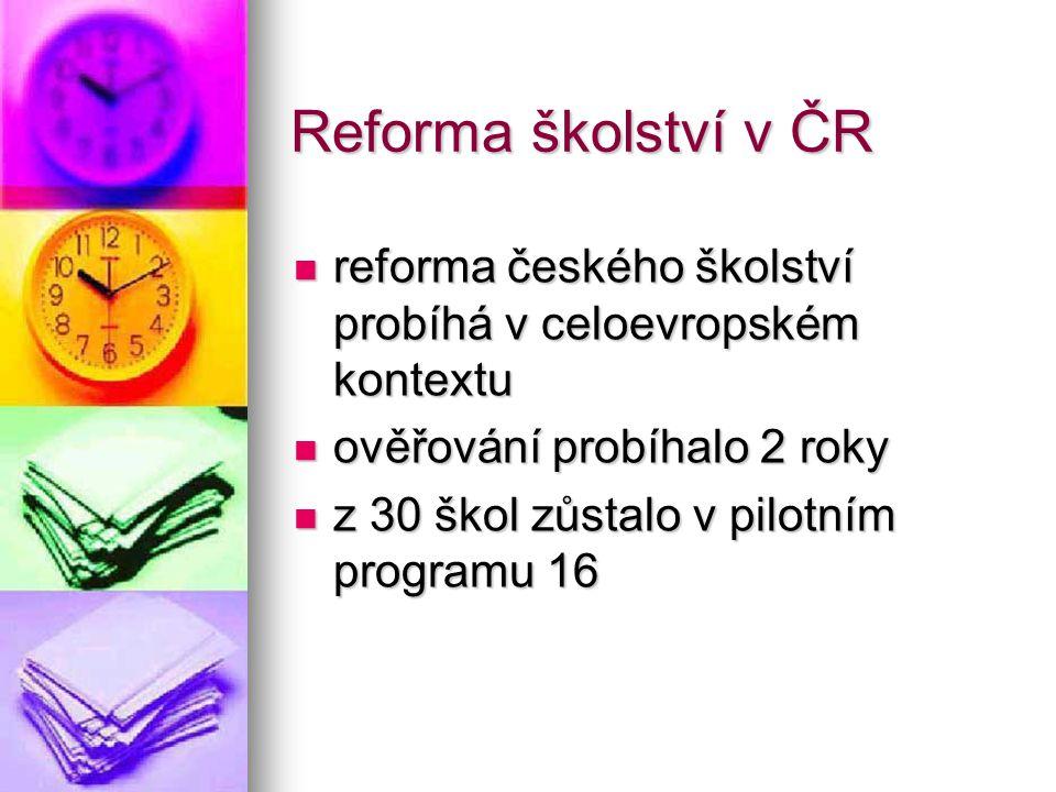 Reforma školství v ČR reforma českého školství probíhá v celoevropském kontextu. ověřování probíhalo 2 roky.