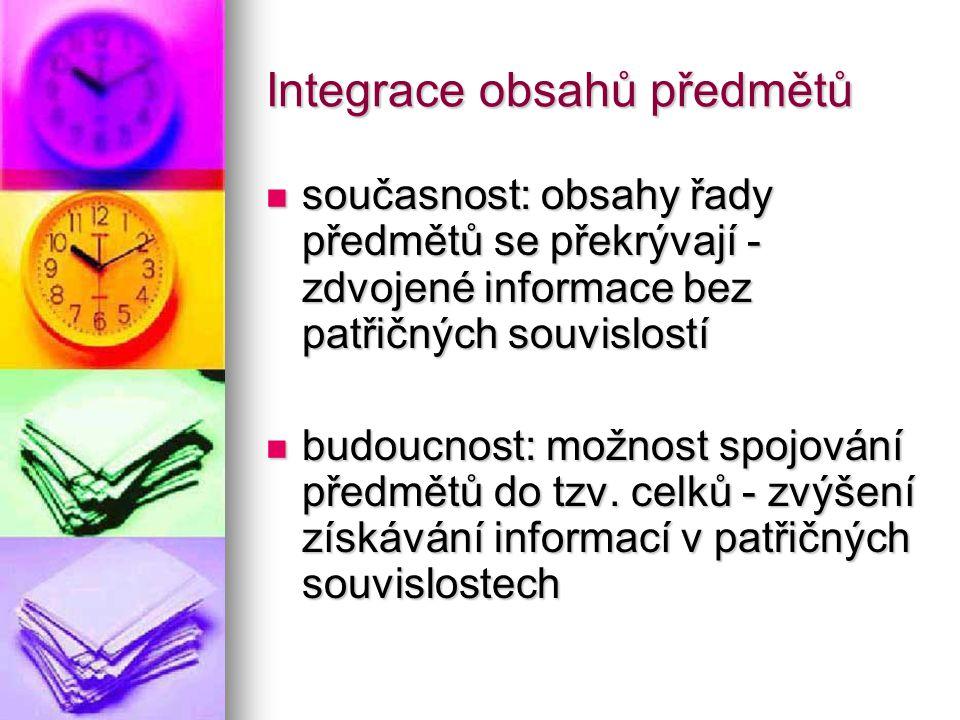 Integrace obsahů předmětů