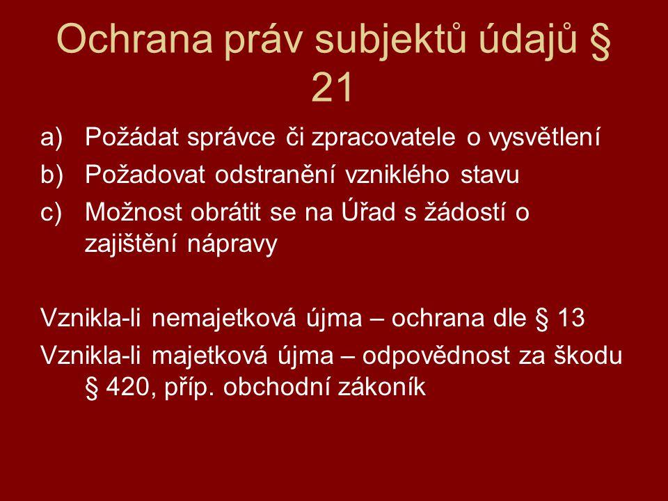 Ochrana práv subjektů údajů § 21