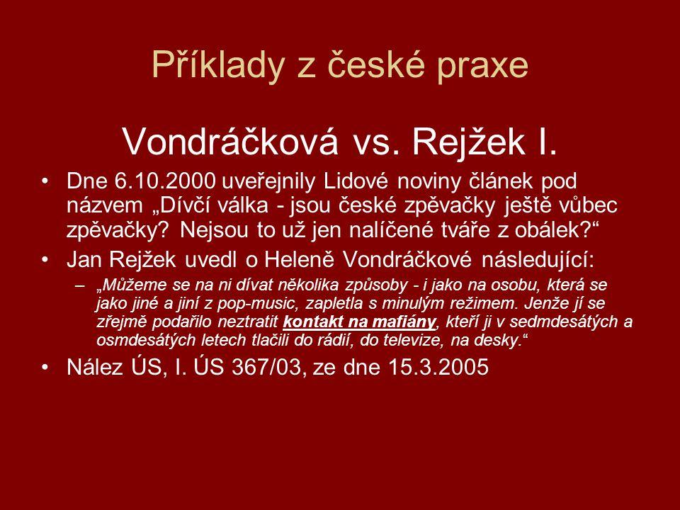 Vondráčková vs. Rejžek I.