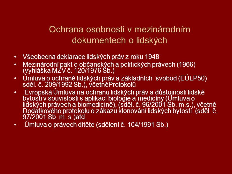 Ochrana osobnosti v mezinárodním dokumentech o lidských