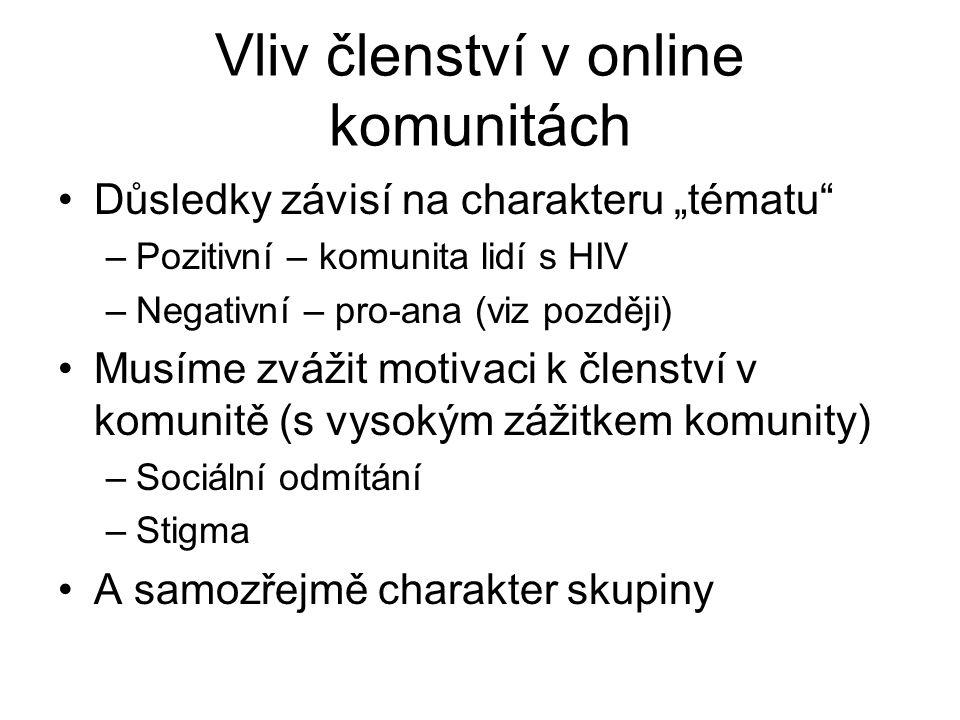 Vliv členství v online komunitách