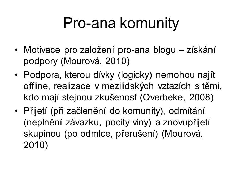Pro-ana komunity Motivace pro založení pro-ana blogu – získání podpory (Mourová, 2010)