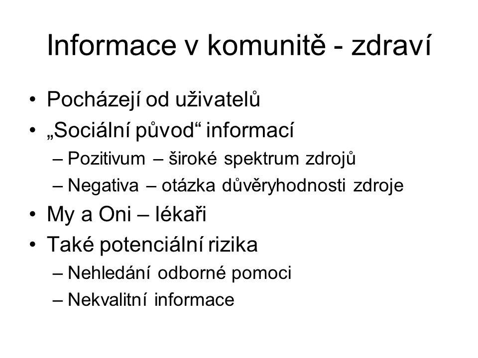 Informace v komunitě - zdraví
