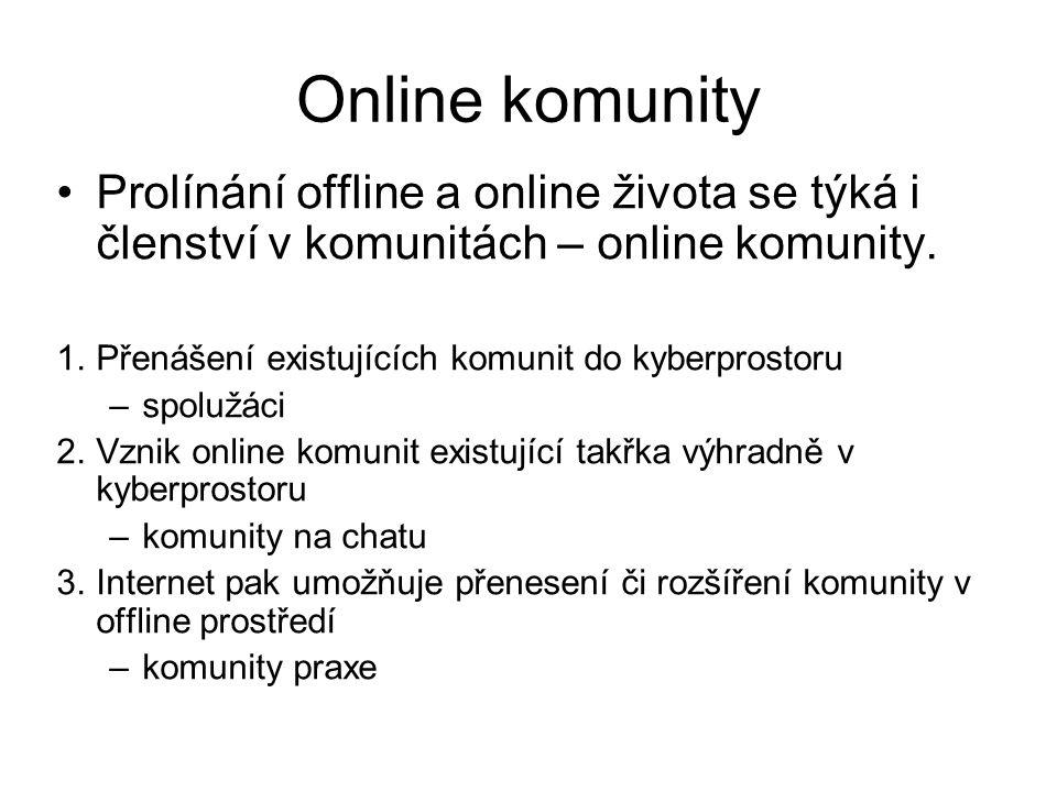 Online komunity Prolínání offline a online života se týká i členství v komunitách – online komunity.