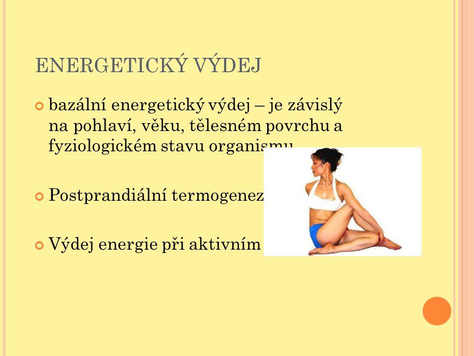 ENERGETICKÝ VÝDEJ bazální energetický výdej – je závislý na pohlaví, věku, tělesném povrchu a fyziologickém stavu organismu.