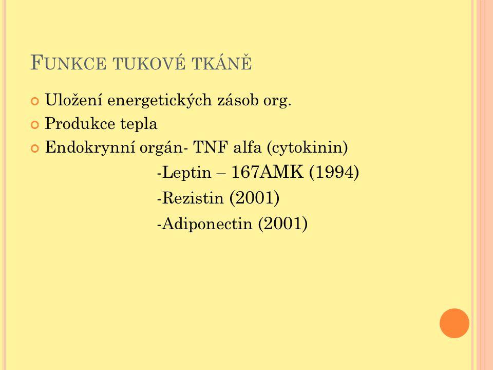 Funkce tukové tkáně Uložení energetických zásob org. Produkce tepla