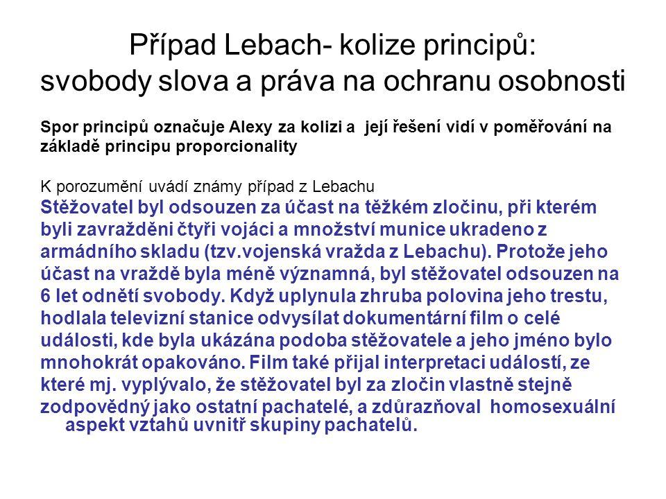 Případ Lebach- kolize principů: svobody slova a práva na ochranu osobnosti