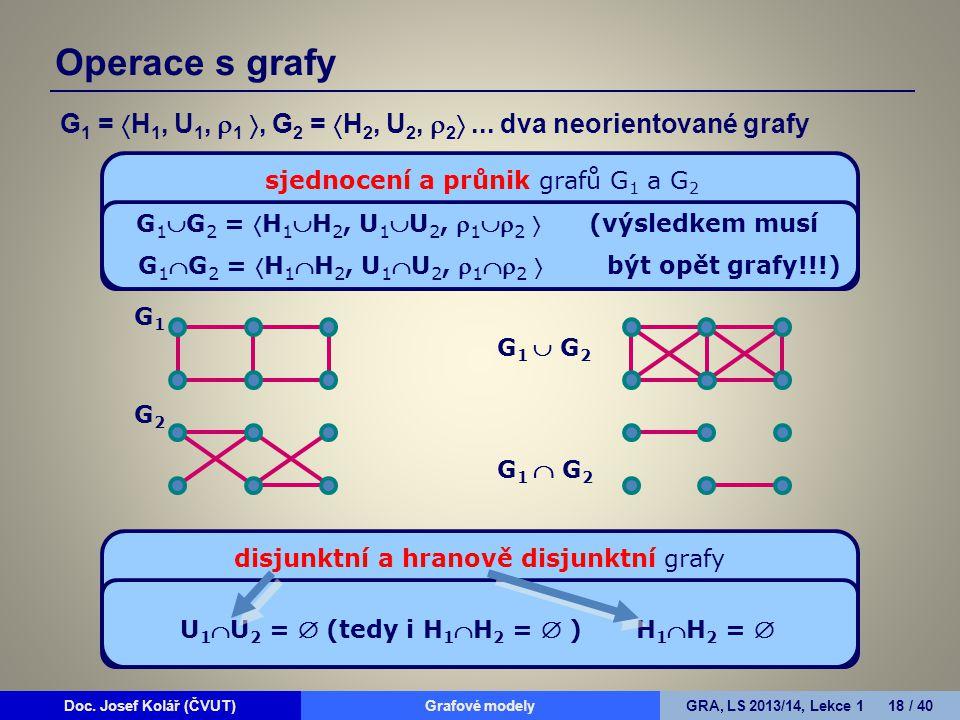 Operace s grafy G1 = H1, U1, 1 , G2 = H2, U2, 2 ... dva neorientované grafy. sjednocení a průnik grafů G1 a G2.