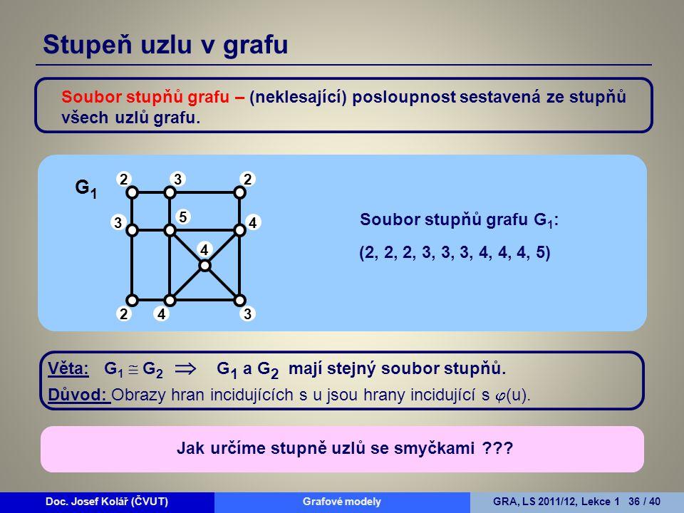 Stupeň uzlu v grafu Soubor stupňů grafu – (neklesající) posloupnost sestavená ze stupňů všech uzlů grafu.