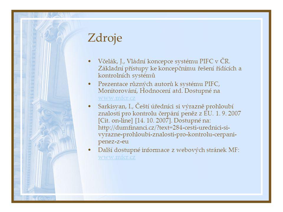Zdroje Včelák, J., Vládní koncepce systému PIFC v ČR. Základní přístupy ke koncepčnímu řešení řídících a kontrolních systémů.