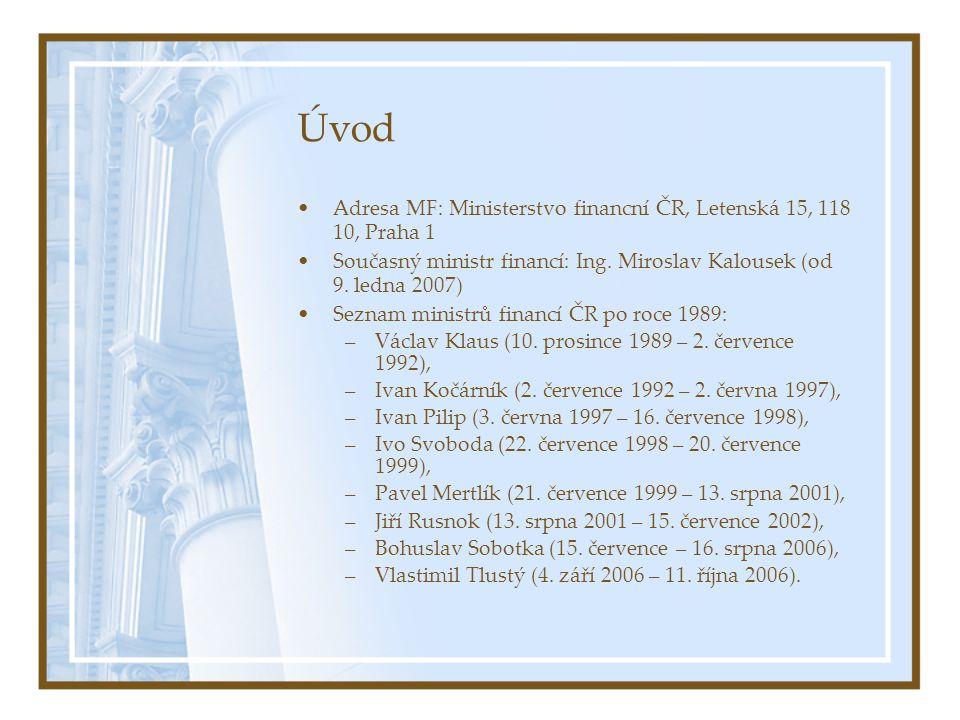 Úvod Adresa MF: Ministerstvo financní ČR, Letenská 15, 118 10, Praha 1