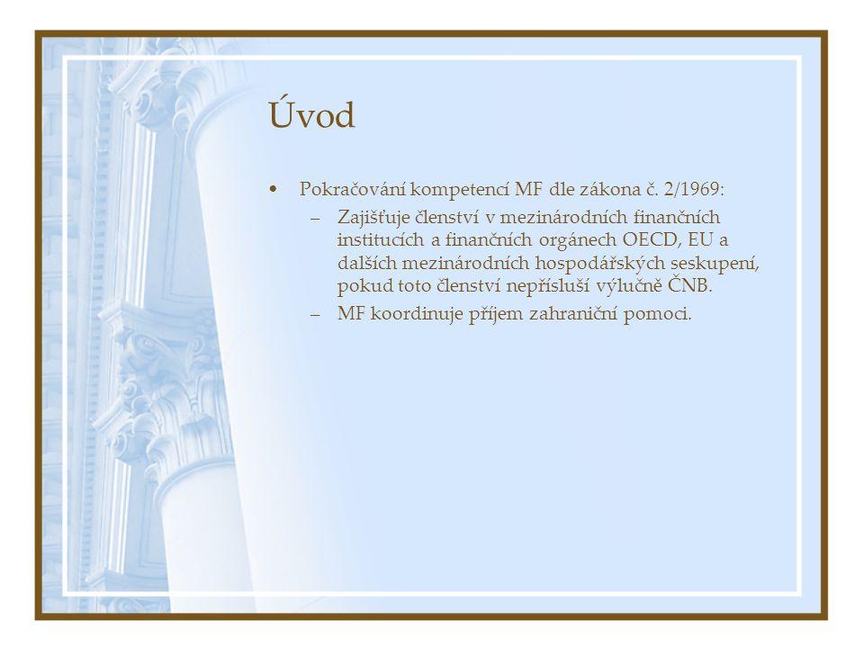 Úvod Pokračování kompetencí MF dle zákona č. 2/1969: