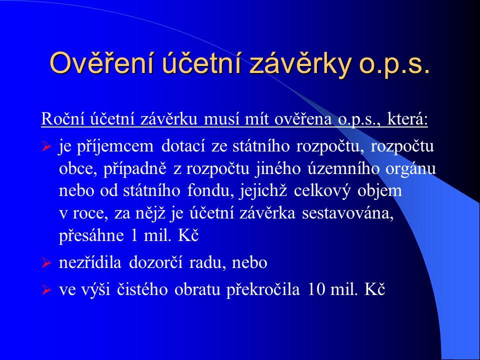 Ověření účetní závěrky o.p.s.