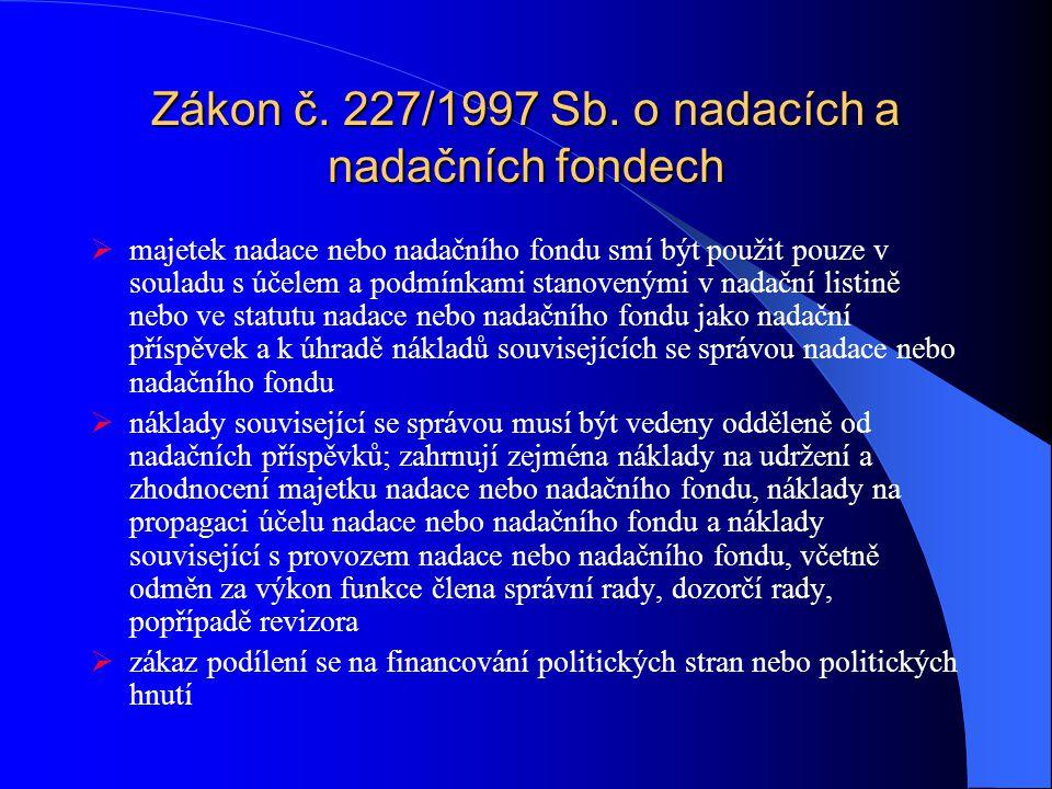 Zákon č. 227/1997 Sb. o nadacích a nadačních fondech