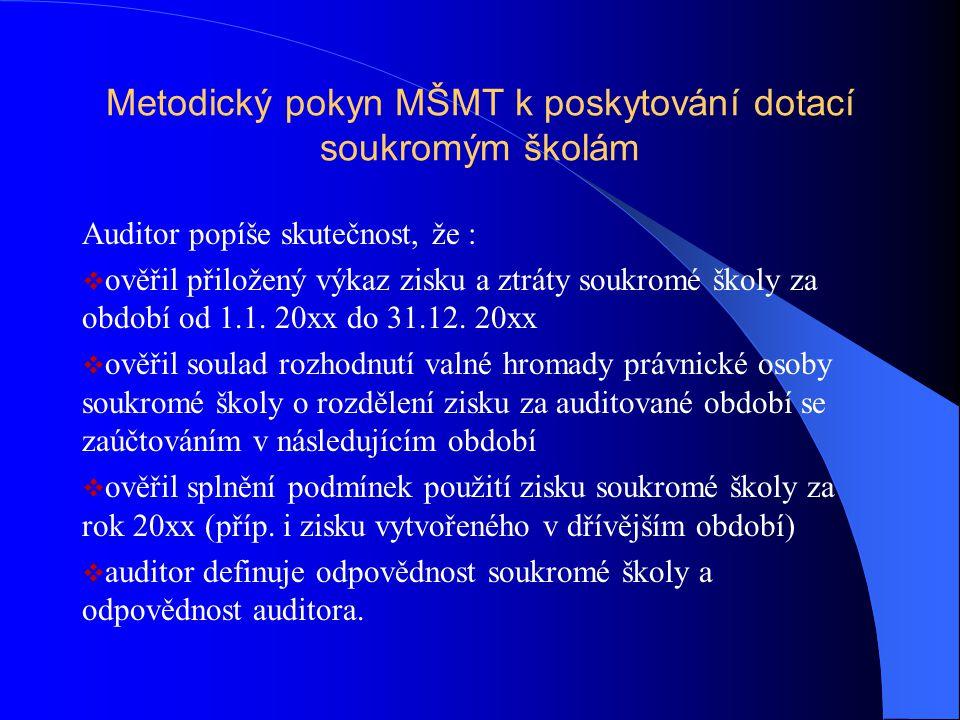 Metodický pokyn MŠMT k poskytování dotací soukromým školám