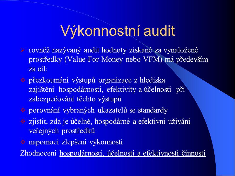 Výkonnostní audit rovněž nazývaný audit hodnoty získané za vynaložené prostředky (Value-For-Money nebo VFM) má především za cíl: