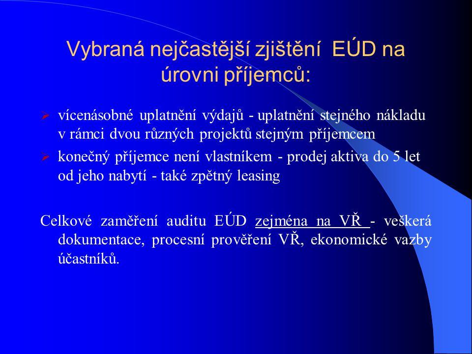 Vybraná nejčastější zjištění EÚD na úrovni příjemců:
