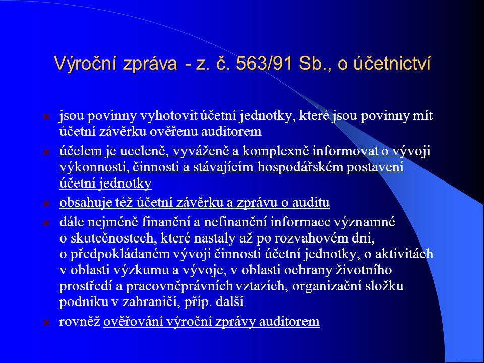 Výroční zpráva - z. č. 563/91 Sb., o účetnictví