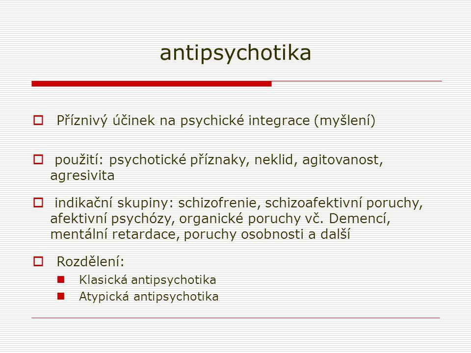 antipsychotika Příznivý účinek na psychické integrace (myšlení)