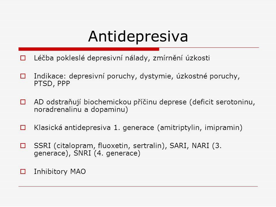 Antidepresiva Léčba pokleslé depresivní nálady, zmírnění úzkosti