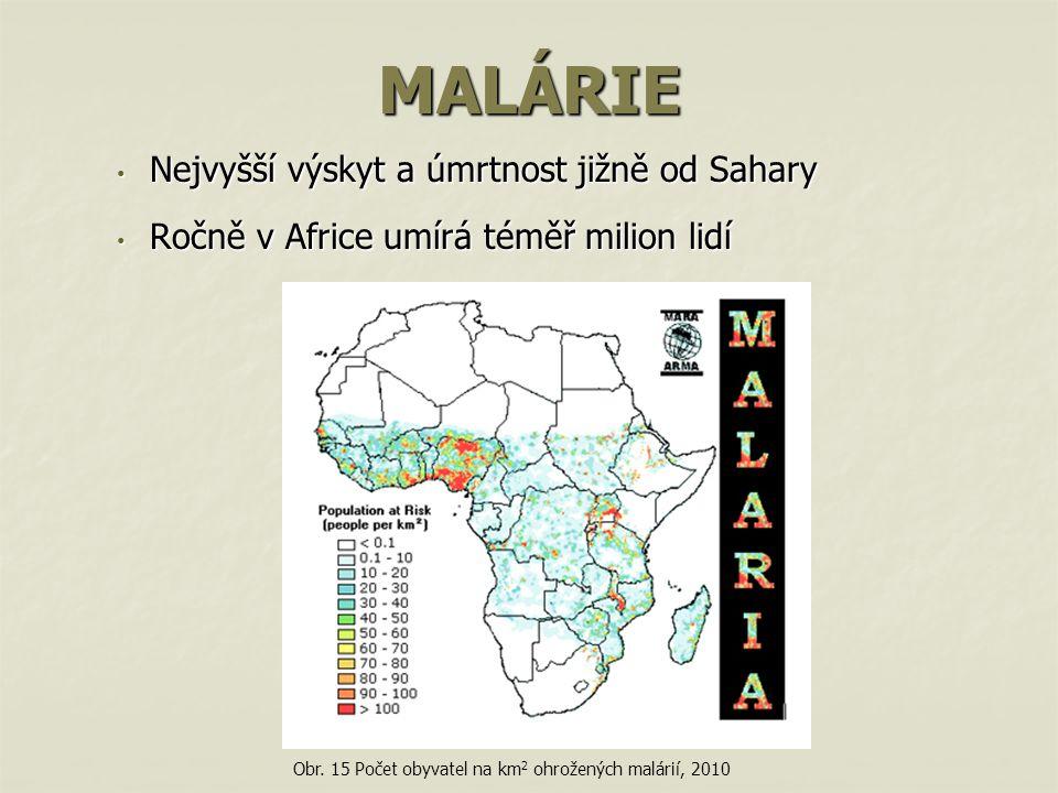 MALÁRIE Nejvyšší výskyt a úmrtnost jižně od Sahary
