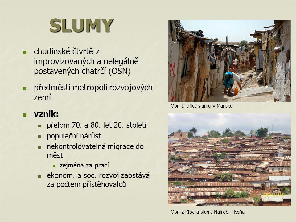 SLUMY chudinské čtvrtě z improvizovaných a nelegálně postavených chatrčí (OSN) předměstí metropolí rozvojových zemí.