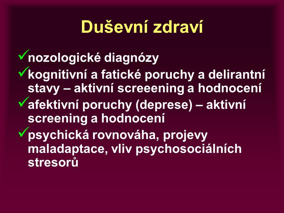 Duševní zdraví nozologické diagnózy