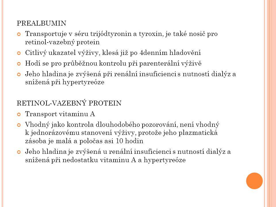 PREALBUMIN Transportuje v séru trijódtyronin a tyroxin, je také nosič pro retinol-vazebný protein.