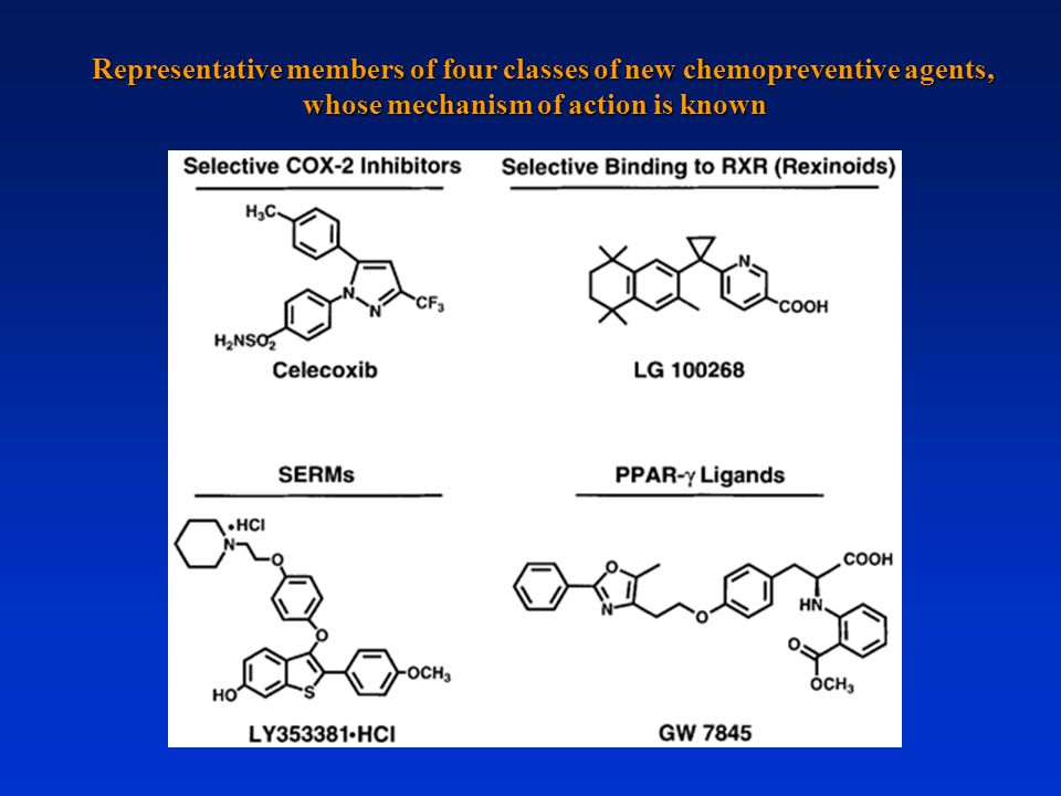 Representative members of four classes of new chemopreventive agents, whose mechanism of action is known
