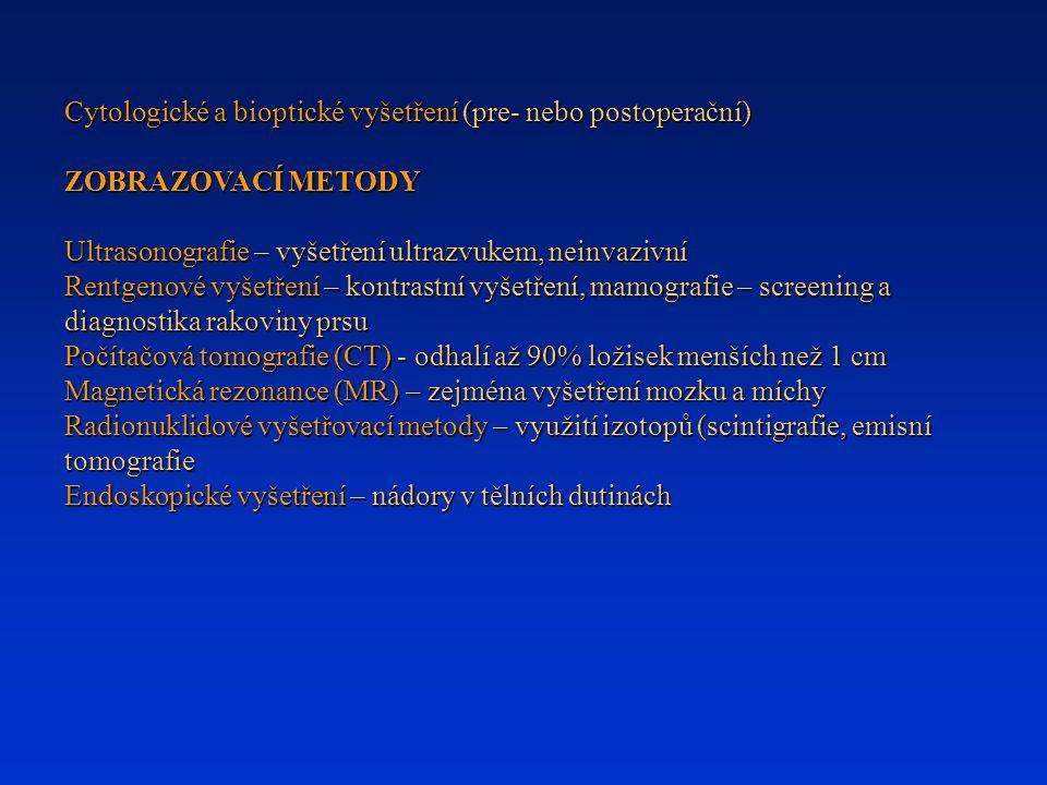 Cytologické a bioptické vyšetření (pre- nebo postoperační)