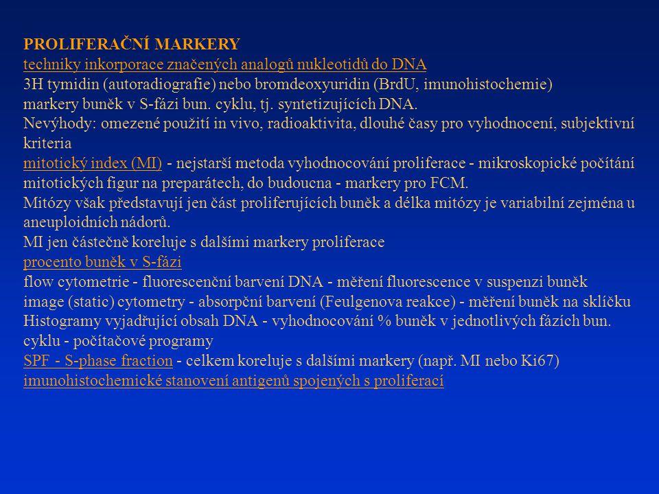 PROLIFERAČNÍ MARKERY techniky inkorporace značených analogů nukleotidů do DNA.