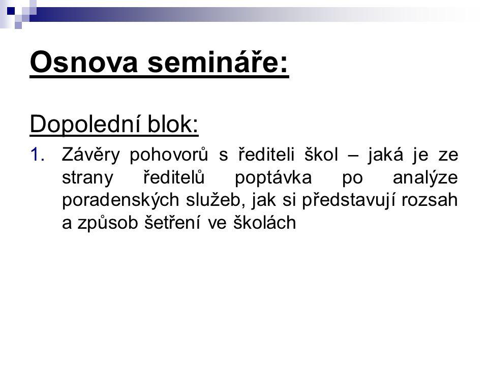 Osnova semináře: Dopolední blok: