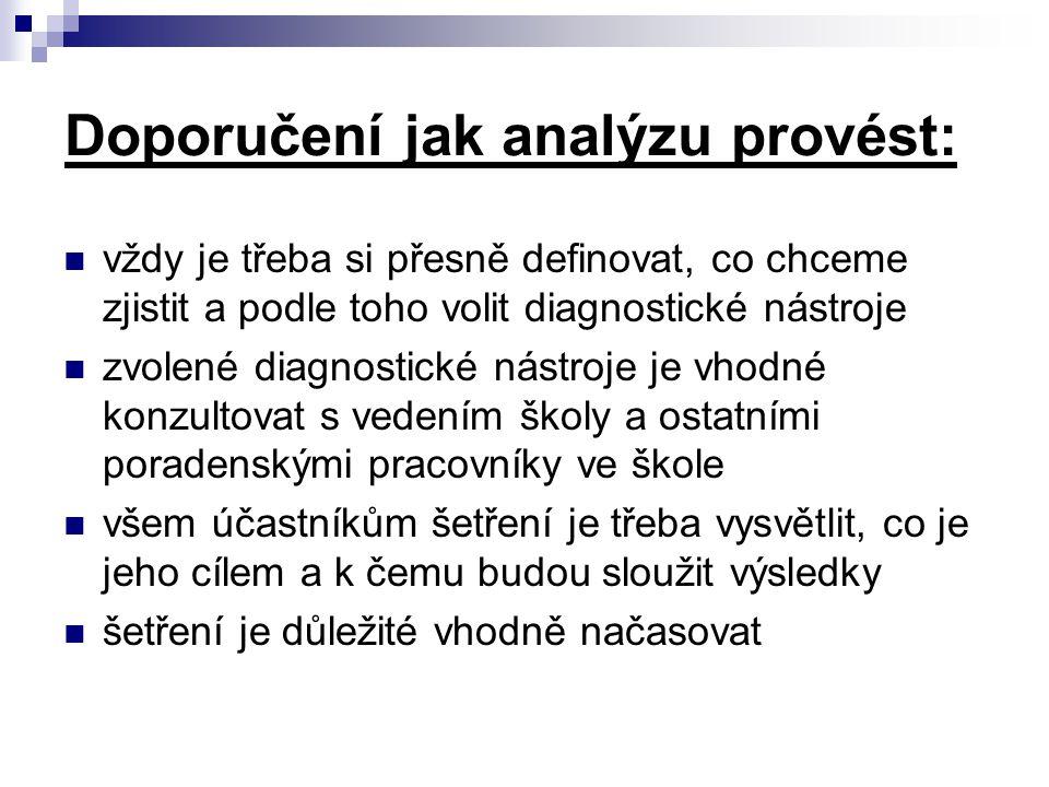 Doporučení jak analýzu provést: