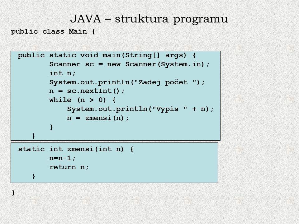 JAVA – struktura programu