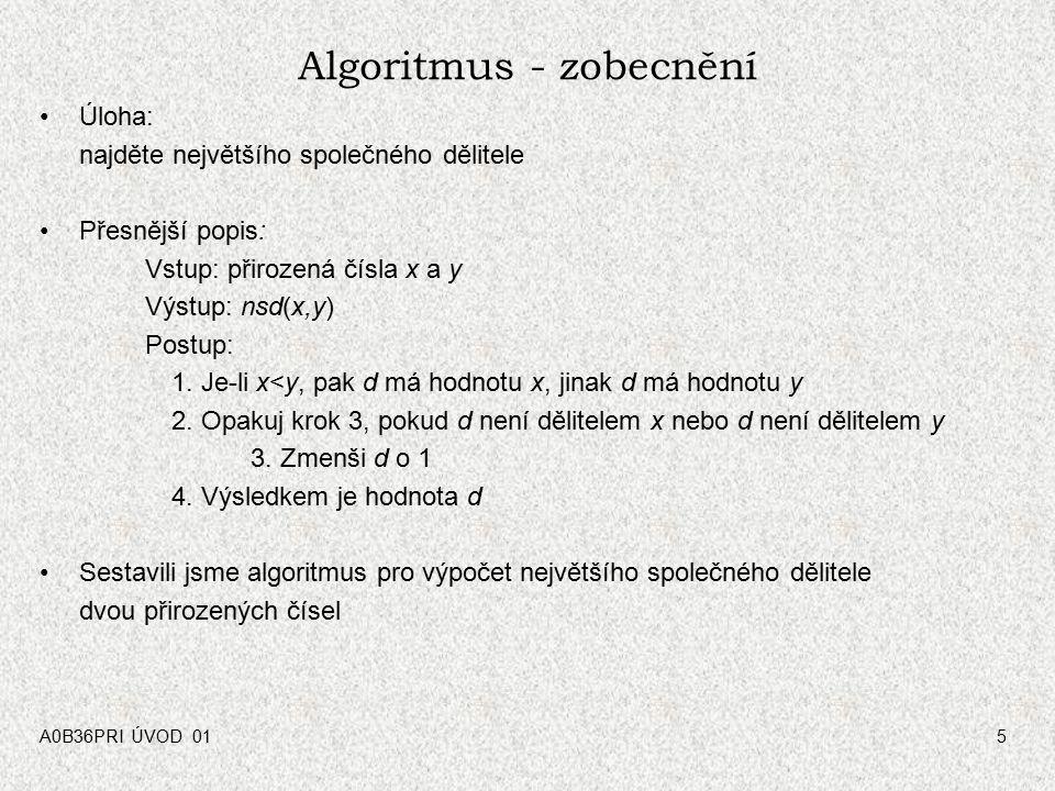 Algoritmus - zobecnění