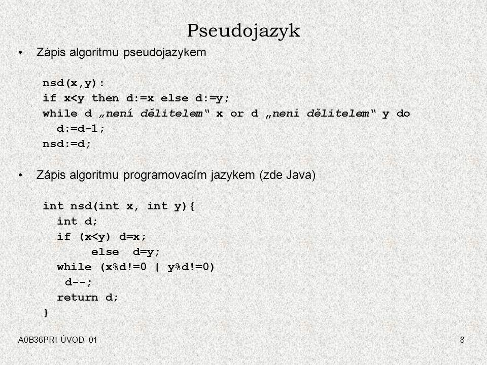 Pseudojazyk Zápis algoritmu pseudojazykem