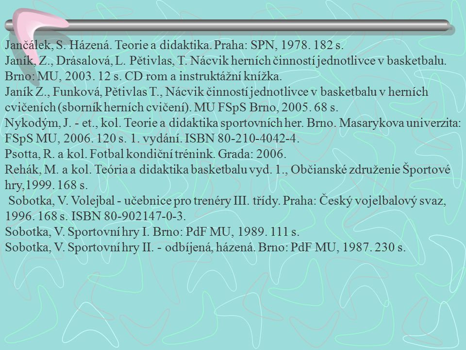Jančálek, S. Házená. Teorie a didaktika. Praha: SPN, 1978. 182 s.