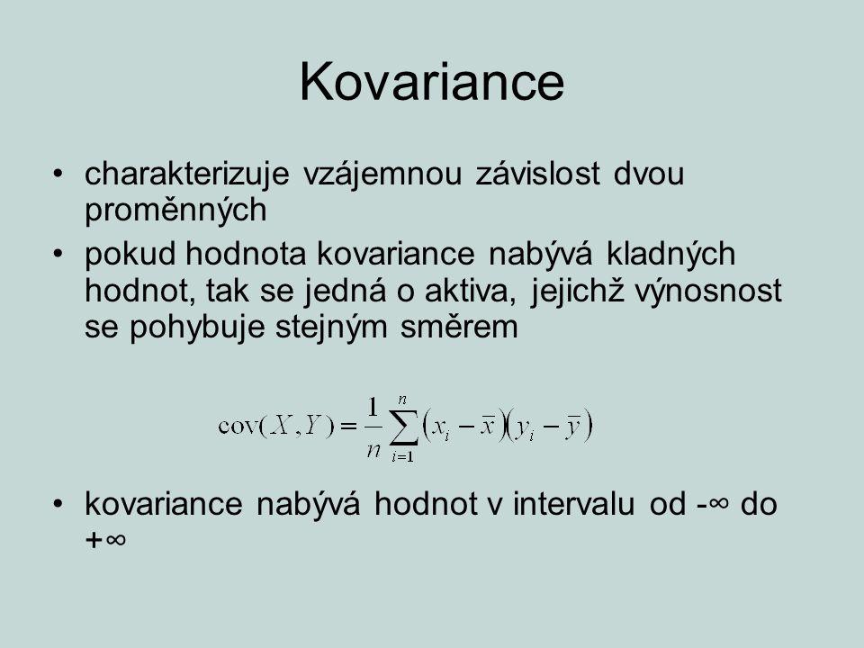 Kovariance charakterizuje vzájemnou závislost dvou proměnných