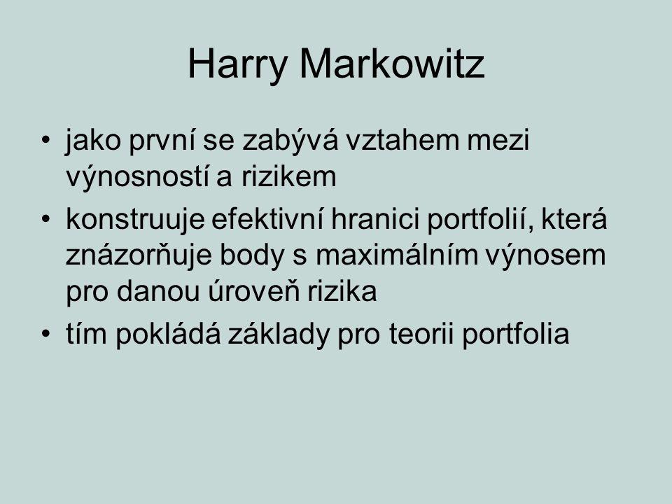 Harry Markowitz jako první se zabývá vztahem mezi výnosností a rizikem