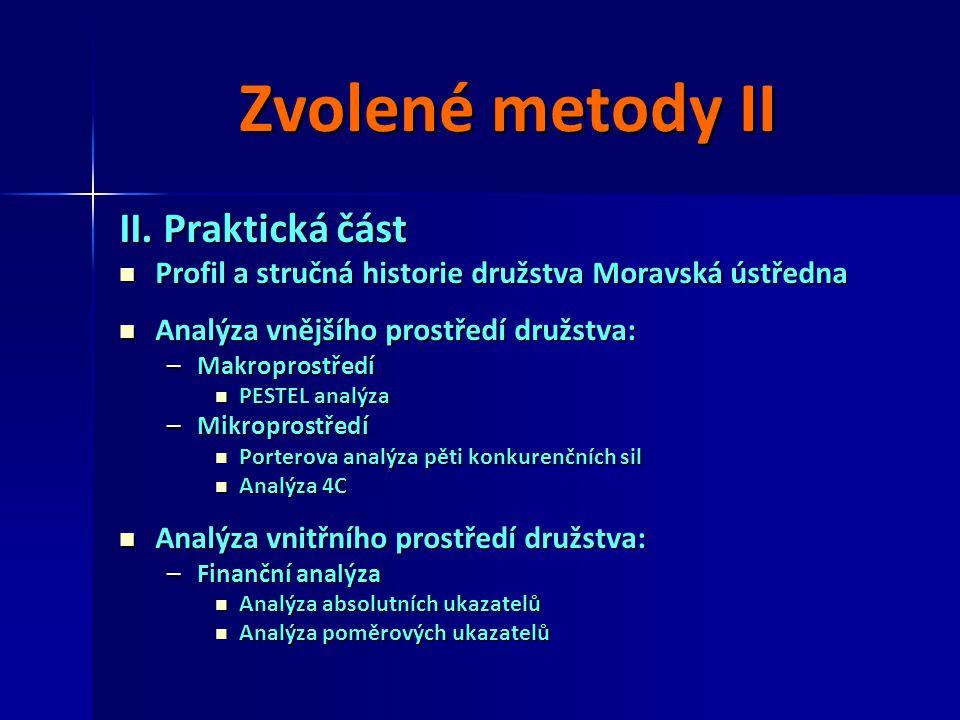 Zvolené metody II II. Praktická část