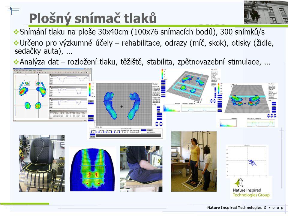 Plošný snímač tlaků Snímání tlaku na ploše 30x40cm (100x76 snímacích bodů), 300 snímků/s.